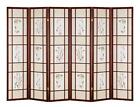 """6 PANEL ROOM DIVIDER FLOWERS AND BRANCHES DESIGN 70""""H -Cherry, Black, Natural."""