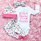 4PCS Newborn Infant Baby Girl Outfits Clothes Set Romper Bodysuit Pants Leggings
