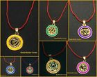 7 Chakra Pendant Yoga Reiki Healing Symbols Golden metal Necklace Gift with cord
