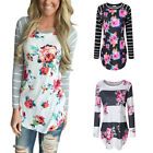 US Women T-shirts Pullover Floral Print Shirt Long Sleeve Casual Blouse Tops New