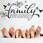 love life qoute - Vinyl Wall Art Sticker Family where life begins&Love never ends qoute decoration