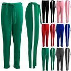 Womens Ladies Stretchy Side Stripes Paper Bag Tie High Waisted Cigratte Trousers