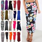 Womens Ladies Printed Jersey Stretchy Flared Bodycon New Gypsy Long Maxi Skirt