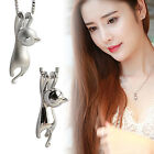 Polish/ Frosted Women Silver Plated Cat Box Chain Pendant Necklace Charm Jewelry