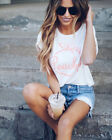 US Summer Women Casual Short Sleeve Loose T-shirt Letter Print Graphic Tee Tops