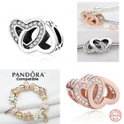 Rose Gold Silver Entwined Love Hearts Charm Genuine Sterling Silver 925 791880CZ