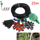 25M Auto/Manual DIY Watering Irrigation System Sprinkler Drip Timer Garden Hose