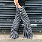 New Womens Black with White Stripe Wide Leg Flared Bell Bottoms Stretch Flares