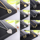 Pet Paw Necklace Gold Hollow Dog Claw Heart Pendant Cat Kitty Puppy Suspend Gift