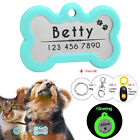 Dog Tags Personalised Disc Glow Pet Tag Silencer Bone/Round Name ID Collar Tag