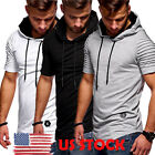 US Mens Hip-hop Hooded T-shirt Short Sleeve Summer Casual Tops Tees Shirt Hoodie