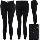 Ladies Stretchy Faded Front Sequin Studded Ankle Length Skinny Women Denim Jeans