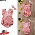 sunsuit for girls - New Baby Girl Clothes Lace Floral Romper Jumpsuit Sunsuit Headband US Stock