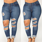 US STOCK WOMEN PLUS SIZE Stretch Distressed Ripped BLUE SKIN