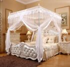 4 Corner Post Bed Canopy Mosquito Net Full Queen King Size Netting White Bedding image