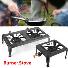 Double Burner Gas Propane Cooker Outdoor Camping Picnic Stove Stand BBQ Grill