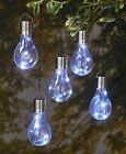 Set of 5 Solar Lighted Light Bulbs Outdoor Hanging Accent Lighting Choose Color