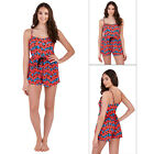 Loungeable Womens Red Leopard Print Short All In One New Ladies Romper Playsuit