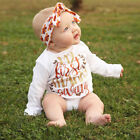 Infant Baby Girl Clothes Romper Jumpsuit Bodysuit Playsuit Top + Headband Outfit