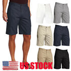 US Mens Belted Shorts Cotton Flat Front Slim Fit Casual Lounge Work Golf Pants