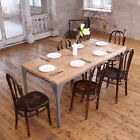 Contemporary Pine Wood Steel Industrial Dining Table Reclaimed Rustic Farmhouse