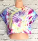 Tie Dye Crop Top T-Shirt Top S M Holiday Festival 8 10 12 14