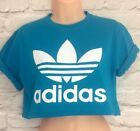 Reworked ADIDAS ORIGINALS Crop Top T-Shirt Turquoise Holiday S M