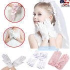 Внешний вид - Wedding Flower Girl's Stretch Satin Dress Gloves, Toddlers Baby Girls 3-10 Years