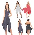 Ladies Womens Halter Neck Dress Hanky Backless Top Sleeveless Size UK 8-26