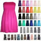 New Ladies Strapless Plain Printed Sheering Boobtube Bandeau Mini Flared Dress