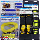 Heavy Duty Roof Rack Cargo Trailer Ratchet Tie Downs Wide Strap Set With J Hooks