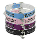 Small Rhinestone Leather Dog Collar With Heart Pendant for Chihuahua Yorkie