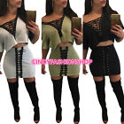 USA New Women Lady Sexy T-shirt Lace UP 2 piece Set Club Body con Bandage Dress
