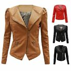 Ladies Womens Pu Pvc Faux Leather Quilted Zipped Bomber Biker Jacket Coat 8-16
