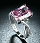 18K White Gold Plated Pink Stone Cocktail Ring Made with Swarovski Crystals image