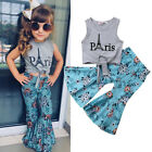 Внешний вид - Canis Fashion Kids Baby Girls Eiffel Tower Tops Vest Flower Pants Outfit Clothes