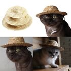 US Pet Cat Puppy Straw Hat SunHat Small Dog Adjustable Buckle Costume Ornament