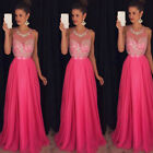 Women Formal Long Lace Dress Prom Evening Cocktail Party Bridesmaid Wedding Gown