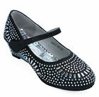 GIRLS DIAMANTE WEDGES LOW-HEEL PARTY BLACK DOLLY WEDDING SHOES PUMPS UK 8-2