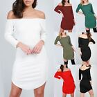 Ladies Womens Off The Shoulder 3/4 Sleeve Curved Hem Bardot Ribbed Bodycon Dress