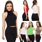 Womens girl Sexy Crop Tops Halter Sleeveless Camisole ladies Basic slim Fit Tank