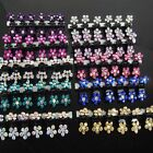 6 12 PCS Lots Girls Sweet Rhinestone Crystal Flower Mini Hair Claws Clips Clamp