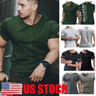 US Mens Short Sleeve T Shirt Slim Fit Casual Tops Clothing Bodybuilding Muscle