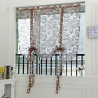 Adorable Floral Short Roman Curtain Tie-up Kitchen Window Shade Sheer Voile