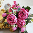 Artificial Silk Peony Flowers Bouquet Fake Leaf Wedding Party Fabric Decor