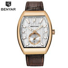 BENYAR 3ATM Waterproof Date Men Pilot Sport Quartz Wrist Watch Leather Band