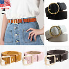 US STOCK Women Vintage Metal Boho Leather Round Buckle Waist Belt Waistband New