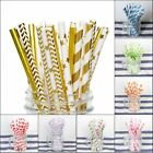 Внешний вид - 100PCS Gold Drink Paper Straws Wedding Birthday Party Supplies Polka Baby Shower