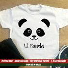 Kids Lil Panda T-Shirt - Cute Bear Animal Face Zoo Gift Top Girls Boys Custom