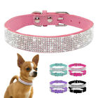 Bling Rhinestone Suede Leather Dog Collar Adjustable for Small Medium Dogs XS-M